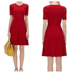 Hugo Boss Frida Red Ribbed Fit & Flare Dress XS